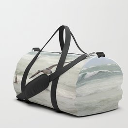 Seagulls flying over rough sea Duffle Bag