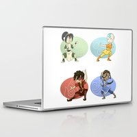 airbender Laptop & iPad Skins featuring Earth Air Fire Water by dedfox