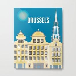 Brussels, Belgium - Skyline Illustration by Loose Petals Metal Print