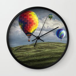 Hot Air Balloons over Green Fields Wall Clock