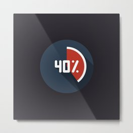 """Print illustration """"percentage - 40%"""" with long shadow in new modern flat design Metal Print"""
