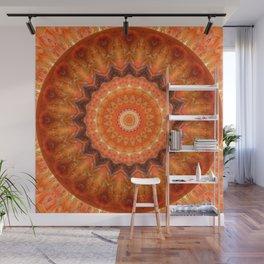 Mandala orange brown Wall Mural