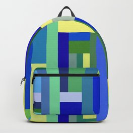 Abstract Blue Lime Pattern Backpack