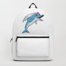 Dolphin as bride with veil and flowers Backpack
