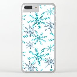 Blue Snowflakes Clear iPhone Case