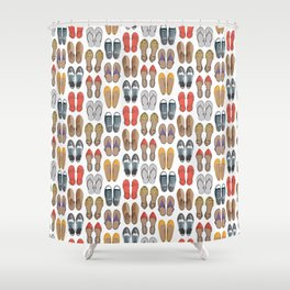 Hard choice // shoes on white background Shower Curtain