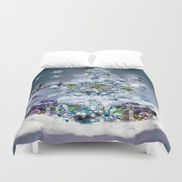 Snowy Blue Christmas Scene Duvet Cover