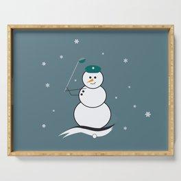 Golfing Snowman Serving Tray