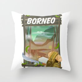 Borneo Jungle poster. Throw Pillow