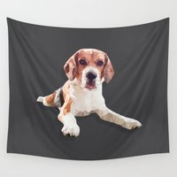 beagle Wall Tapestries featuring Beagle Dog #2 by artsimo