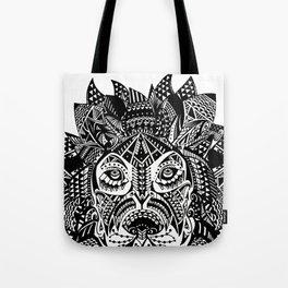 Tribal Inspired Lion ink illustration Tote Bag