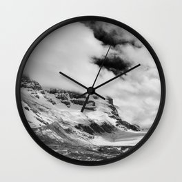 Mountains | Glaciers and clouds | Black and White | photography Wall Clock