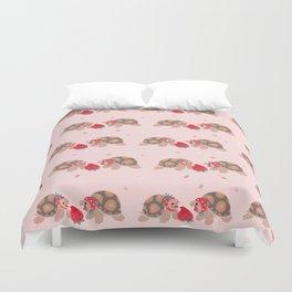 Tortoises love strawberries Duvet Cover