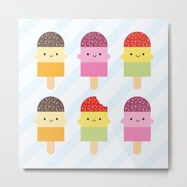 Kawaii Summer Ice Lollies / Popsicles Metal Print