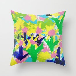 Impressionistic Daisies in the Garden Throw Pillow
