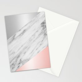 Pink Grey and Marble Collage Stationery Cards