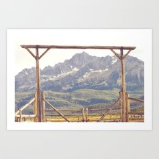 Western Mountain Ranch Art Print