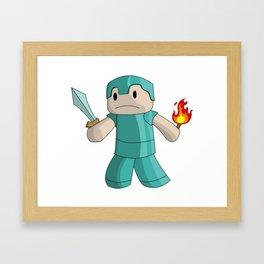 Mine Craft Steve With Sword & Flame Framed Art Print