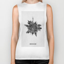 Moscow, Russia Black and White Skyround / Skyline Watercolor Painting Biker Tank