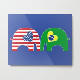 U.S.-Brazil Friendship Elephants Metal Print