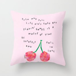 Be Yourself and Fall In Love Relationship Cherry Illustration Throw Pillow