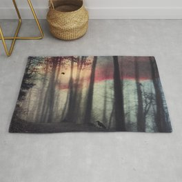 Blurred Vision - Forest and birds at sunrise Rug
