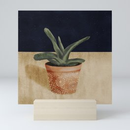 Potted Succulent // Nighttime Workspace // Plant Lovers // Terra-cotta and Green Mini Art Print