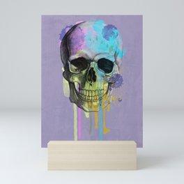 skull in purple and dripping  Mini Art Print