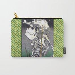 Green Kyosai Skeleton Kitsune Yokai Carry-All Pouch