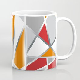 Geometric Shapes in Red, Orange and Gray Coffee Mug