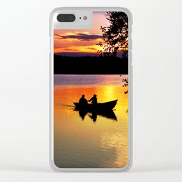 Sunset Fishing Clear iPhone Case