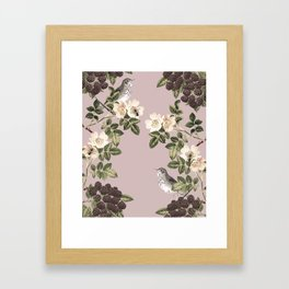 Birds and the Bees Pink Berry Framed Art Print
