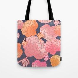 Pink romantic peony pattern on grey background digital illustration  Tote Bag
