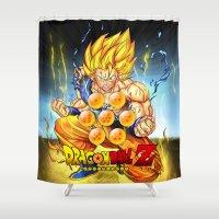 dragon ball Shower Curtains featuring goku ball z design by customgift