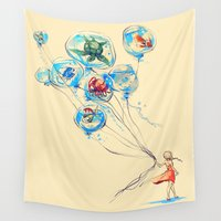 salt water Wall Tapestries featuring Water Balloons by Alice X. Zhang