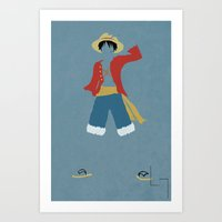 luffy Art Prints featuring Monkey D Luffy by JHTY