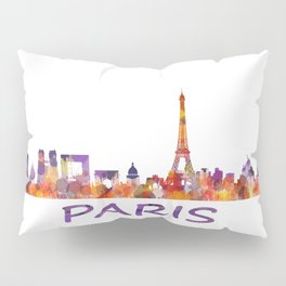 París City Skyline HQ Watercolor Pillow Sham