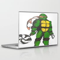 ninja turtles Laptop & iPad Skins featuring Ninja Turtles Mikey by minusblindfold