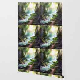 Magical Forest Stream Wallpaper