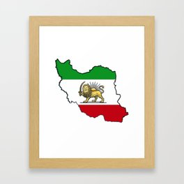 Iran Map with Iranian Flag Framed Art Print