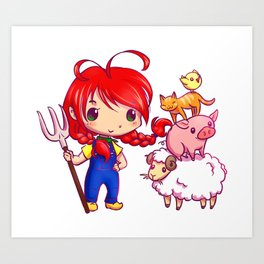 Lotje and the farm animals Art Print
