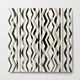 Abstract Cream Brown Black Geometric Pattern Metal Print