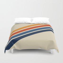 Retro 70s Stripe Colorful Rainbow Tan Classic Vintage Duvet Cover