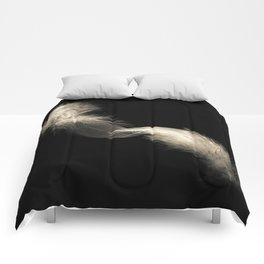 Two feathers in black and white Comforters