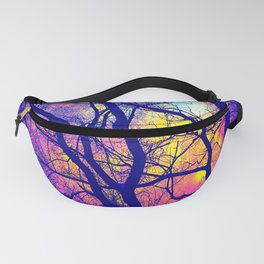 Black Trees Deep Bright & Colorful Space Fanny Pack
