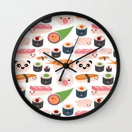 Kawaii sushi white Wall Clock