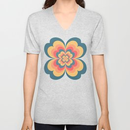 Vintage Flower Blooming On Black Flower Child Unisex V-Neck