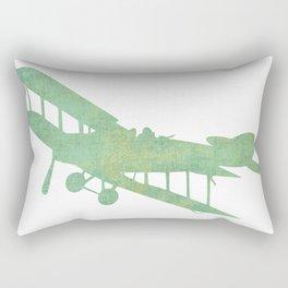 Green nursery airplane wall art print vintage Rectangular Pillow