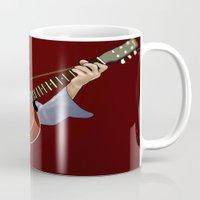 bob dylan Mugs featuring Bob Dylan by Derek Donovan