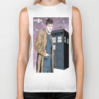 david tennant Biker Tanks featuring Doctor Who - David Tennant by Averagejoeart